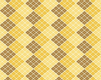 """My Minds Eye """"Indie Chic"""" Yellow Checkers Riley Blake Cotton Fabric Remnant"""