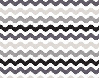 Riley Blake designs  Black and Gray Small Wave Cotton Fabric