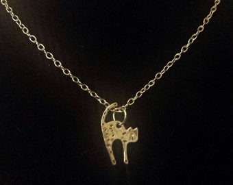 Scardy cat necklace, silver cat necklace, cat necklace, cat charm necklace, Halloween jewelry, cat jewelry, silver cat jewelry, kitty cat