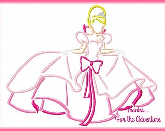 "Princess Tiana's Best Friend Charlotte ""Lottie"" from The Princess and the Frog Sketch Digital Embroidery Machine Design File 5x7 6x10"
