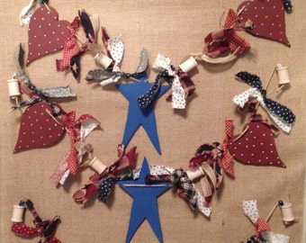 Patriotic Fourth 4th of July Primative Handmade Garland