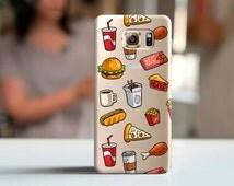 FOOD clear CASE, Samsung case, silicone Samsung case, transparent case, Galaxy s6 case, Grand Prime case, Galaxy Alpha case, street food