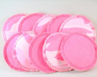 Pink camouflage cotton flannel reusable round facial makeup remover- set of 10