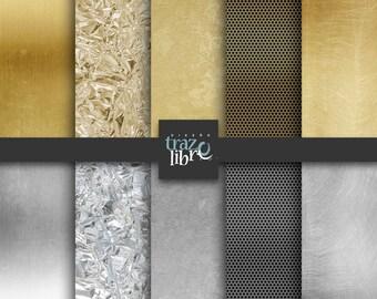 Digital textures: GOLD - SILVER  | digital paper | Backgrounds Instant Download