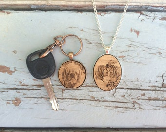 Keychain Necklace Set His and Hers Engraved Key Chain Engraved Keychain Engraved Necklace Gifts for Him Gifts for Her Fathers Engraved Photo