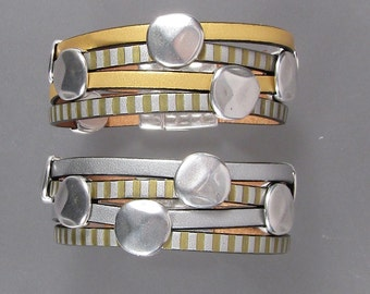 Gold and Silver Leather Cuffs