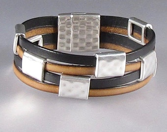 Brown and Black Leather Cuff