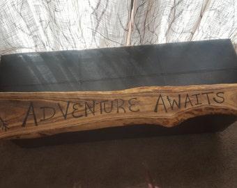 "Wood Sign ""Adventure Awaits"""