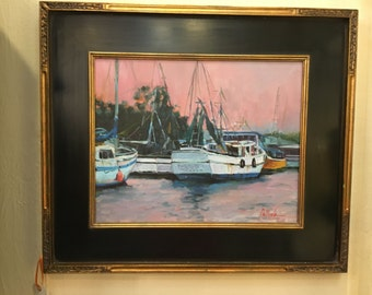 Shrimp Boats at Sunset by Deborah Pellock