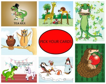 Cartoon birthday card, animal card, animal greetings card, pick you own, blank A5 all occasion, humorous card