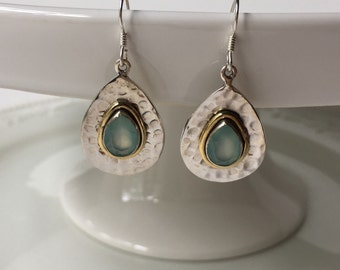 Reflection Pond Aqua Chalcedony Teardrop Earrings