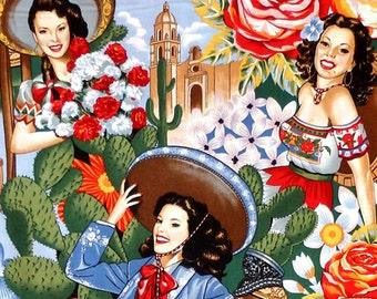 Alexander Henry Las Senoritas - Mexican Pin-Up Girl Fabric - Bright - Per 1/2 metre - 100% Cotton