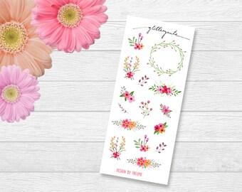 flowers wreath spring summer planner stickers