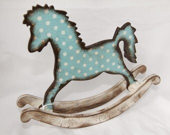 Polka-Dot Blue Rocking Horse