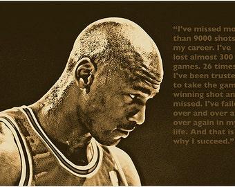 SUCCESS QUOTE photo poster michael JORDAN basketball great sports fan 24X36