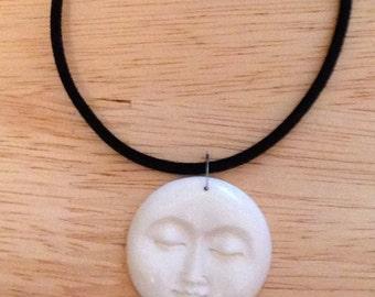 Sleeping Moon Face Necklace