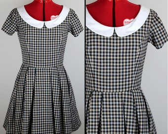 SALE Brown Check Fitted Dress with Peter Pan Collar