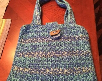 Shades of Blue Crochet Tote