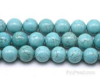 Turquoise beads, 12mm round, big turquoise howlite stone, natural gemstone loose beads wholesale, full strand, TQS2070