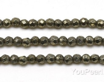 Pyrite beads, 3mm round faceted, A grade pyrite gemstone beads, faceted golden stone beads, natural small stone beads, full strand, PRT1007