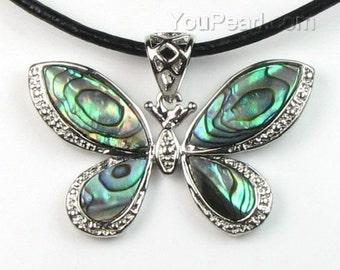 Abalone shell pendant, butterfly abalone paua pendant, sea shell pendant, leather cord necklace, natural paua shell jewelry, SH1305-AP