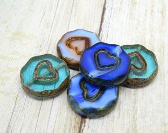 5 x valentine blue mix czech beads| czech glass beads| vintage style beads | czech lentil beads| glass beads