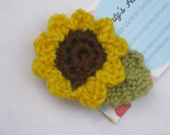 Crochet Sunflower for Michael Brooch #5