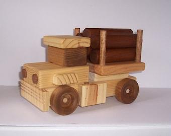 Handmade wooden log truck