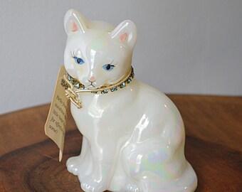 Fenton Glass Cat Figurine, White Opalescent Cat, March Cat Figurine