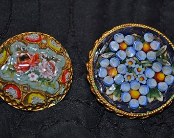 Micro Mosaic Brooches, Vintage Jewelry