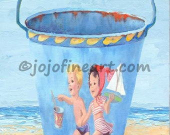 Vintage sand pail bucket painting kid's original art painting 4x6 by jojofineart.com