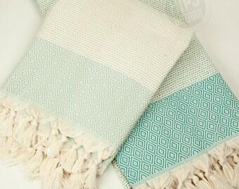 Diamond Stripe Peshtemal - Turkish Towel, Beach Towel, SPA Towel, Turkish Peshtemal