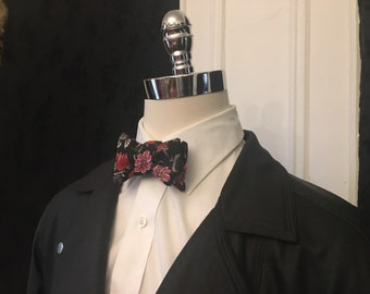 Black and Red Floral Bow Tie