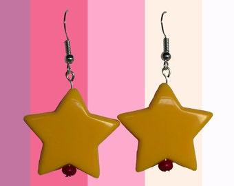 Yellow star earring