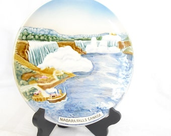Vintage Niagara Falls Hand Painted Plate, Souvenir Travel Plate, Made in Germany, Collectible Wall Hanging, Kitchen Kitsch, NY Landmark, Old