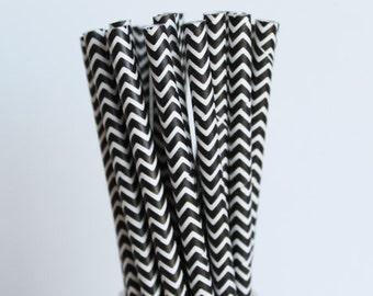 Black & White Chevron Paper Straws