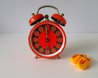 Striking Orange Alarm Clock PETER - Made in Germany - 70s