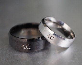 Matching Couple Initial Rings, His and Hers Rings, Personalized Monogram Rings, Couple Ring Set, Engraved Ring, Name Couples Ring
