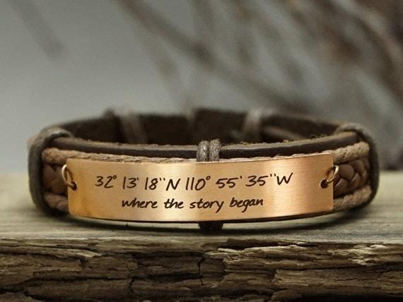 custom coordinates bracelet custom mens leather bracelet