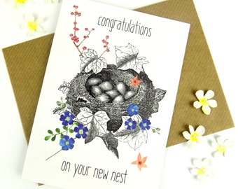 New Home Housewarming Card Congratulations New Nest Greeting Card