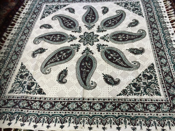 """Square tablecloth, block printing art,paisley tablecloth wall decor, natural textile 39"""" inches with tassels"""