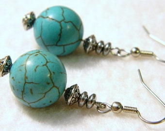 Southwest Style 16mm Round Turquoise Color Howlite Bead Pierced Earrings Silver Tone