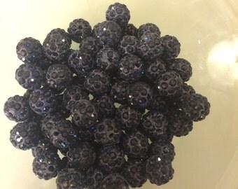100 navy Shamballa beads 10mm