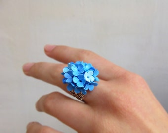Flower ring Sky blue ring Lilac ring Blue jewelry Cute ring Gift for women Bridesmaid ring Unusual jewelry Light blue ring
