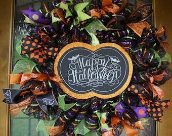 Pumpkin Wreath, Halloween Wreath, Halloween Door Hanger, Pumpkin Door Hanger, Halloween Door Decor, Pumpkin Door Decor, Pumpkin