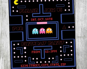 Pacman Invitations Etsy