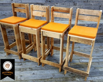 Pallet Bar Stool // Seat, chair, Reclaimed, Recyled, Upcycled, Industrial. Stools. FREE SHIPPING
