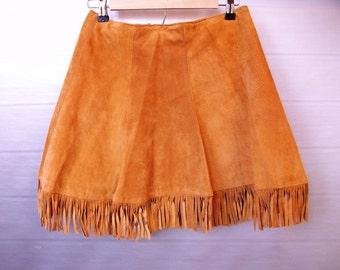Vintage Suede Fringe Skirt, Western Skirt, Fringe Skirt, Camel Skirt