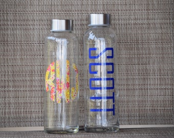 Glass Water Bottle With Monogram