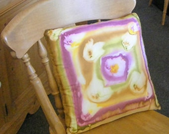 Silk Cushion Cover - Unique Hand Painted - Summer Blooms